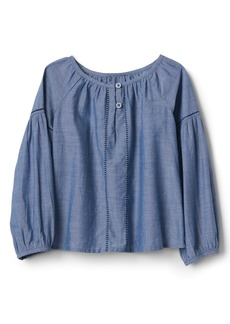 Gap Chambray Balloon-Sleeve Top
