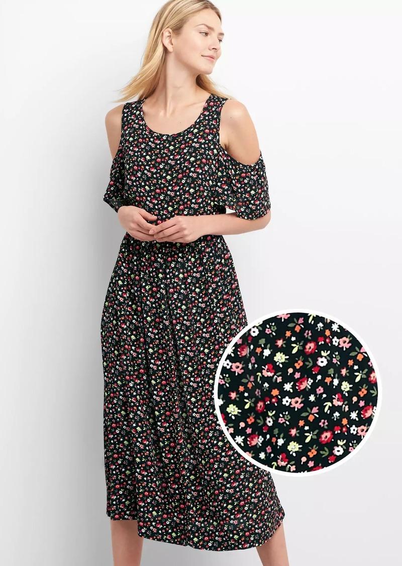 7f620f66aa6859 Gap Cold-shoulder floral midi dress