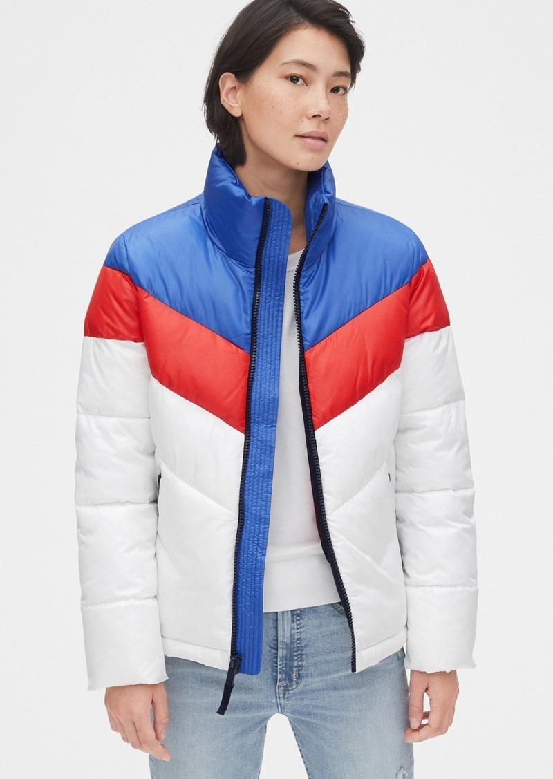 Gap ColdControl Max High Shine Colorblock Puffer Jacket