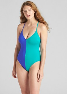 Gap Colorblock Strappy V-Neck One-Piece Suit