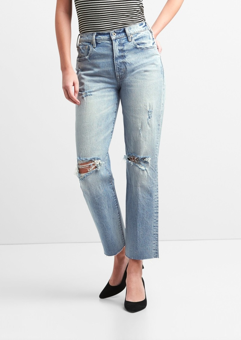 Gap Cone Denim&#174 High Rise Wide-Straight Jeans with Destruction