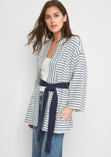 Cotton-linen stripe wrap jacket