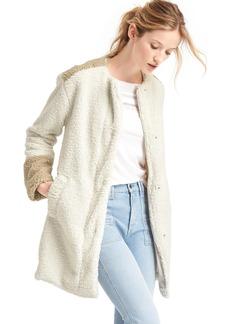 Cozy sherpa collarless coat