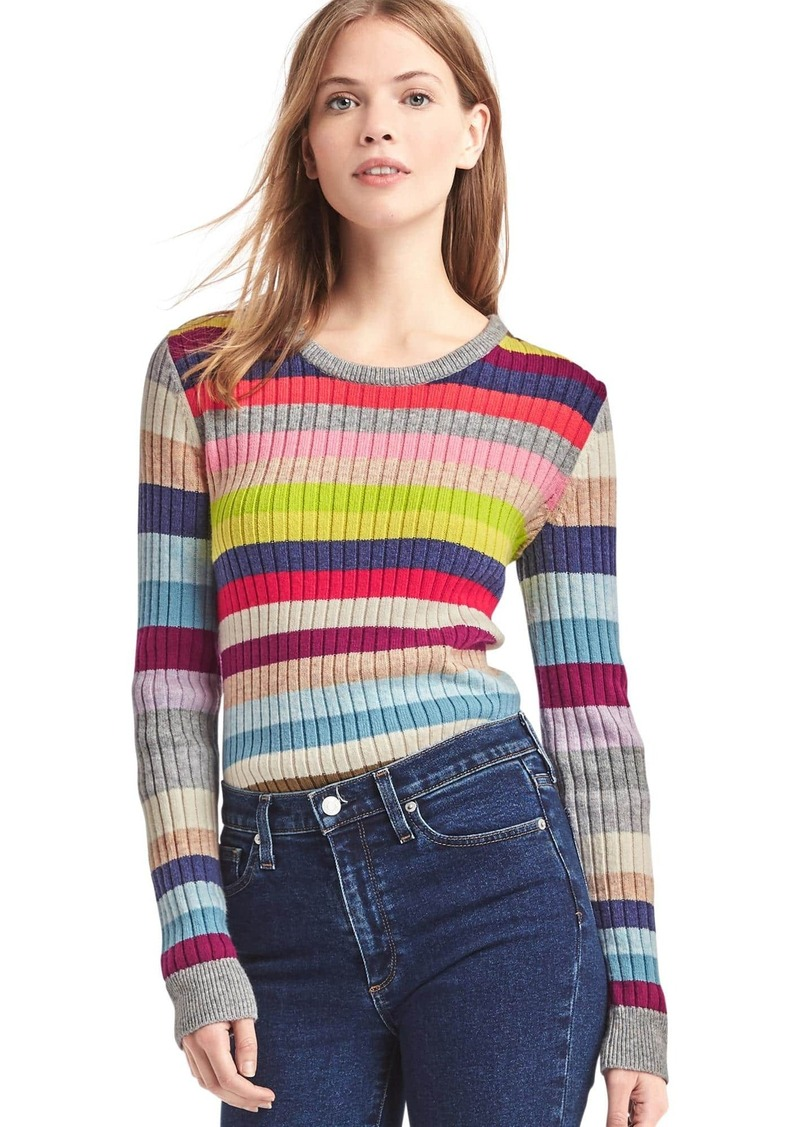 Gap Crazy Stripe Merino Wool Blend Ribbed Sweater Now 29 97