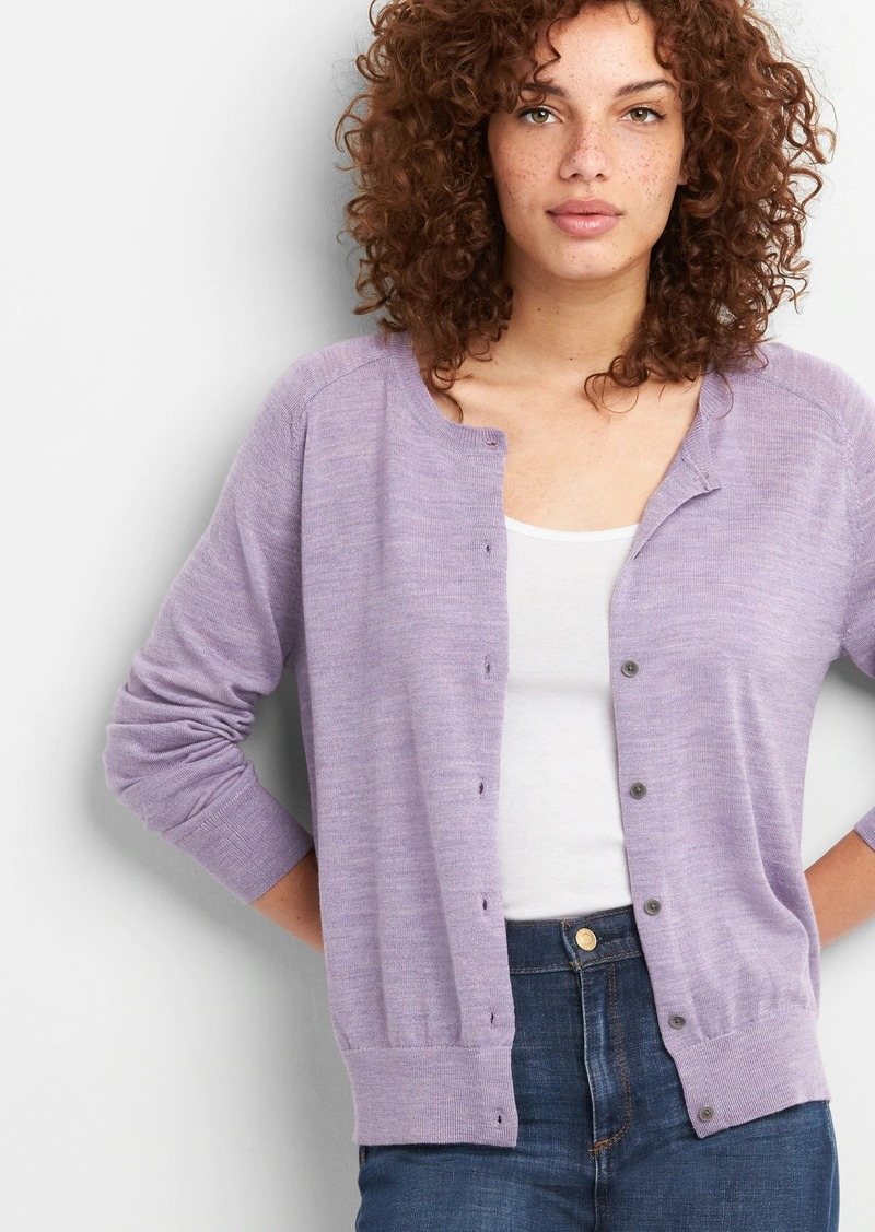 a4e7f08c4 Gap Crewneck Cardigan Sweater in Merino Wool