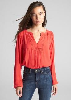 Gap Crinkle Long Sleeve Lace-Trim Blouse