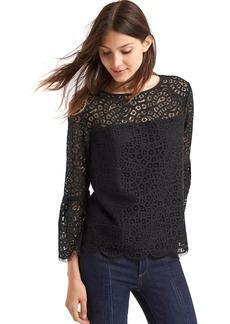 Gap Crochet lace three-quarter bell sleeve top