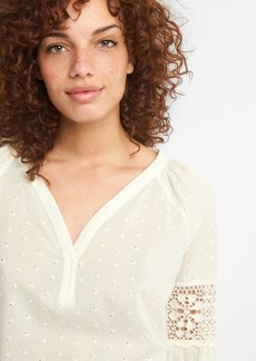 Gap Crochet Long Sleeve Embroidered Blouse