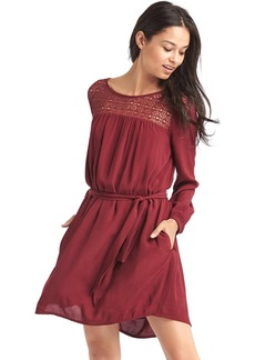 Crochet-panel tie belt dress