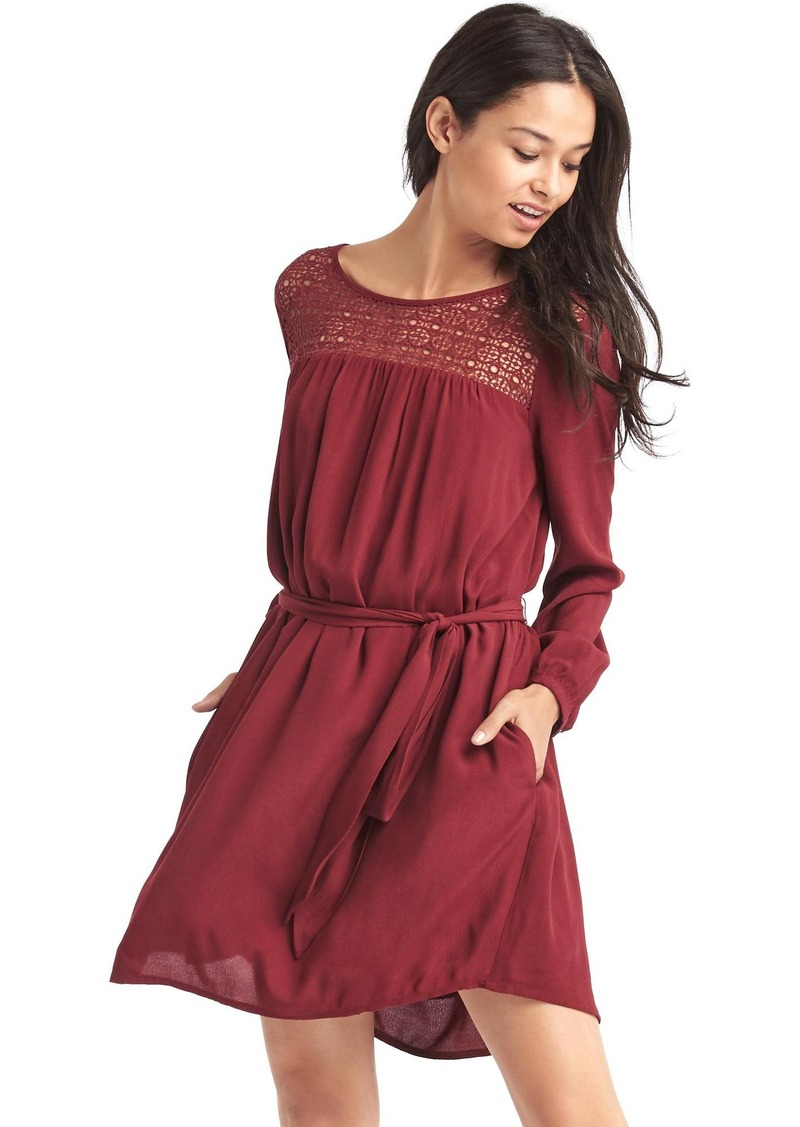 Gap Crochet-panel tie belt dress