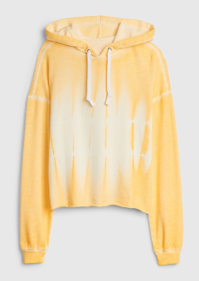 Gap Crop Pullover Hoodie with Raw Hem in French Terry