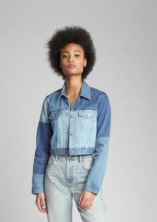 Gap Cropped Patchwork Denim Jacket