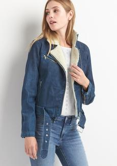 Denim sherpa moto jacket
