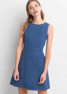 Denim sleeveless fit and flare dress