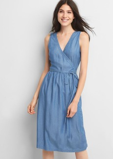 Denim sleeveless wrap dress