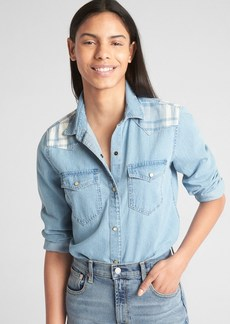 Gap Denim Western Shirt with Pieced Plaid