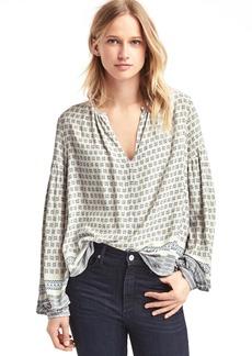 Drapey mix print blouse