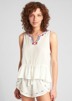 Gap Dreamwell Embroidered Crinkle Tank Top