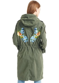 Embroidered canvas anorak
