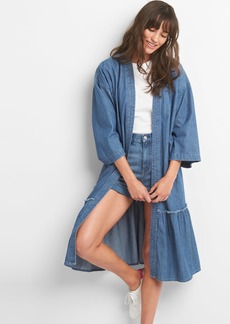 Gap Embroidered Denim Duster Jacket