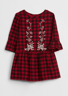 Gap Embroidered Plaid Dress