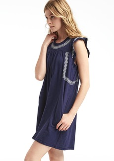 Embroidered slub jersey swing dress