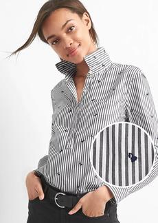 Gap Embroidered stripe popover boyfriend shirt