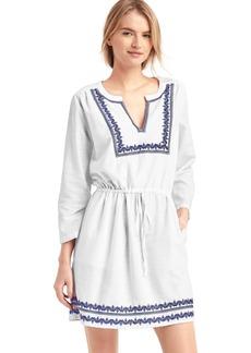 Embroidery split-neck dress