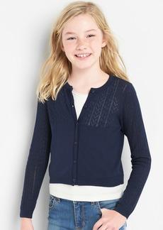 Gap Eyelet Crop Cardigan Sweater