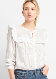 Gap Eyelet Lace Ruffle Trim Shirt