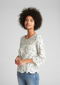 Gap Eyelet Long Sleeve Print Blouse