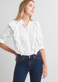 Gap Eyelet ruffle cascade shirt