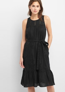 Eyelet sleeveless tier dress