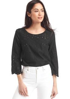 Eyelet three-quarter sleeve blouse