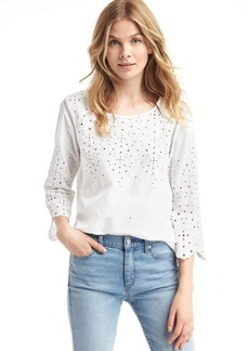 Eyelet three-quarter sleeve blouse