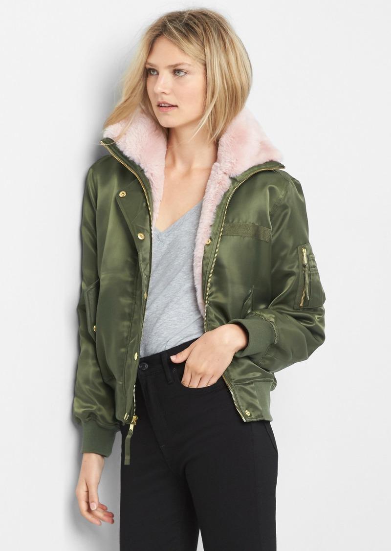 16e69cfb365 Gap Faux-fur bomber jacket | Outerwear