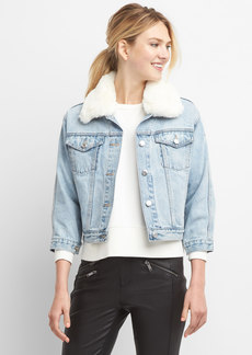 Faux-fur collar denim jacket