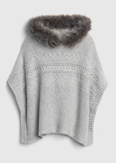 Gap Faux-Fur Trim Cable-Knit Poncho