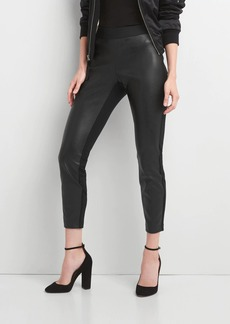 Faux leather-front leggings