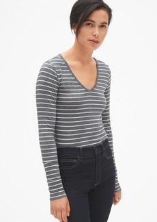 Gap Featherweight Long Sleeve Stripe V-Neck T-Shirt