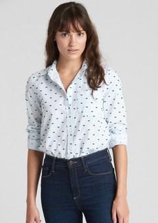 Gap Fitted Boyfriend Stripe Shirt in Clip Dot
