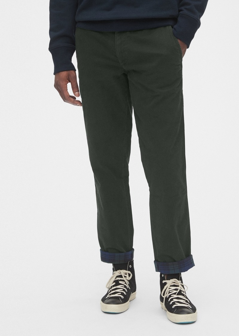 Flannel-Lined Khakis in Straight Fit with GapFlex