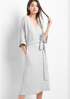 Fleece wrap-belt midi dress