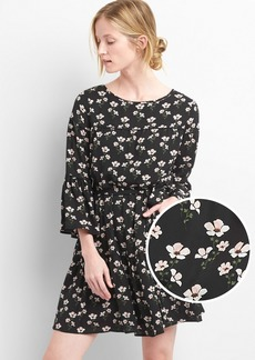Floral bell-sleeve tiered dress