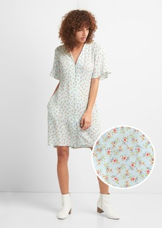 Gap Floral Button-Front Skater Dress
