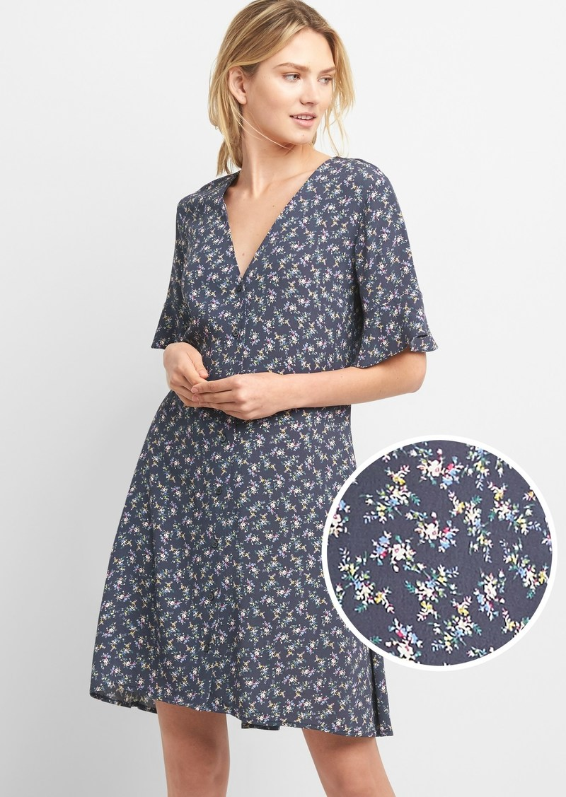 a915a90a22 Gap Floral Button-Front Skater Dress