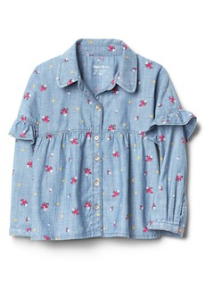 Gap Floral Denim Ruffle Shirt