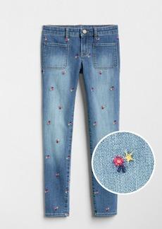 Gap Floral Embroidered Super Skinny Jeans