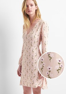 Gap Floral long sleeve fit and flare dress