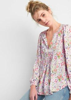 Floral Pintuck Split-Neck Blouse